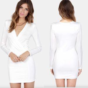 LULUS Foreign Film White Wrap Front Body Con Dress
